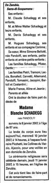 notice décès Blanche Schadegg née Pandolfi 8 janvier 2007