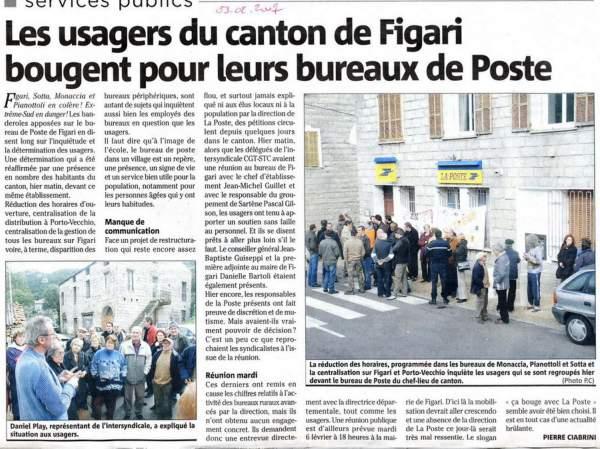 mobilisation pour le maintien des bureaux de La Poste, canton de Figari