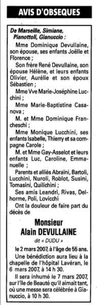 Décès Devullaine Alain