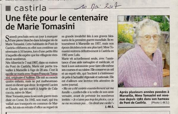 Tomasini Albertini Marie, centenaire