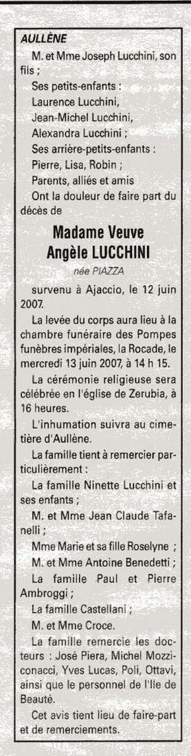 Décès Lucchini née Piazza Angèle