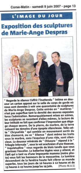exposition de sculptures de Marie Ange Despras