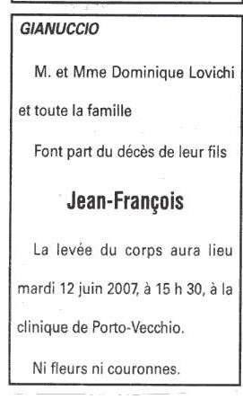 Décès Lovichi Jean François