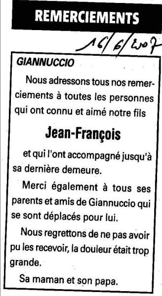 Remerciements Lovichi Jean François
