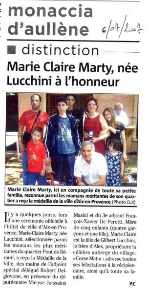 Distinction d'une Maman Lucchini Marty Marie Claire
