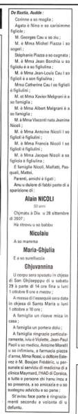 Décès Nicoli Alain