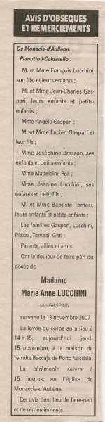 Décès Lucchini Gaspari Marie