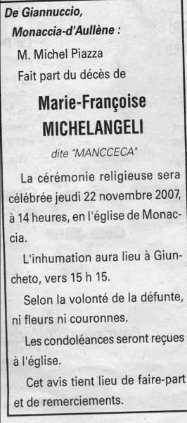 Décès Michelangeli Marie Françoise