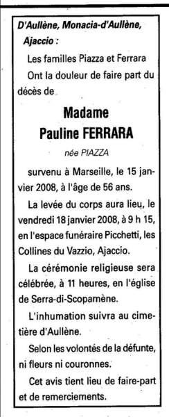 Décès Ferrara Piazza Pauline