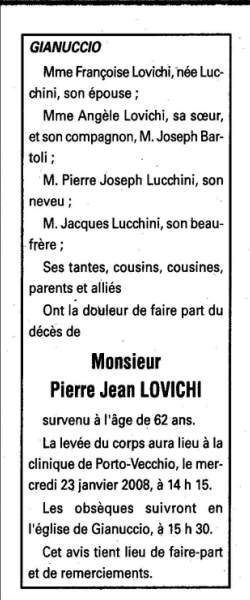 Décès Lovichi Pierre Jean