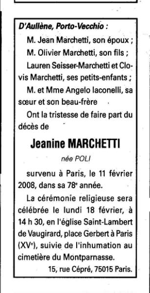 Décès Marchetti Jeanine