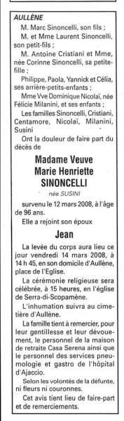 Décès Sinoncelli Susini Henriette