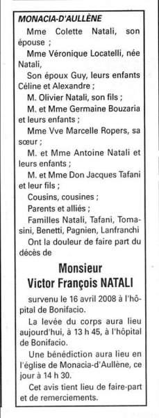 Décès Natali Victor