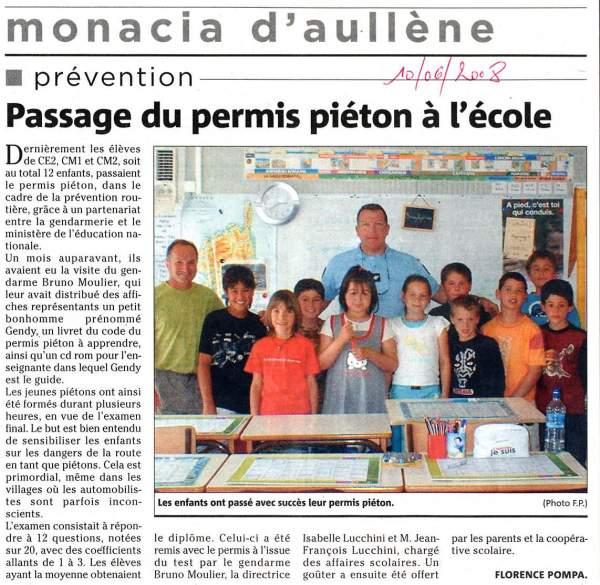 action de prévention et permis piéton à l'école de Monacia
