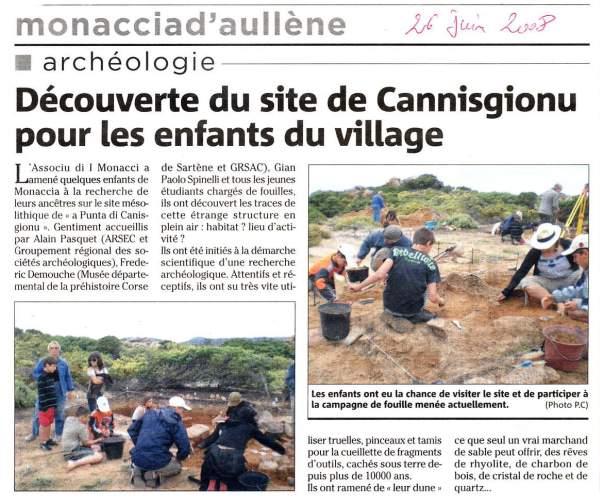 sortie scolaire avec 'Associu d'I Monaci' sur le site archéologique de Canisgionu