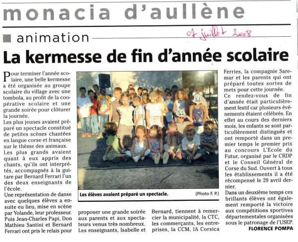 fête de l'école de Monacia, 2008
