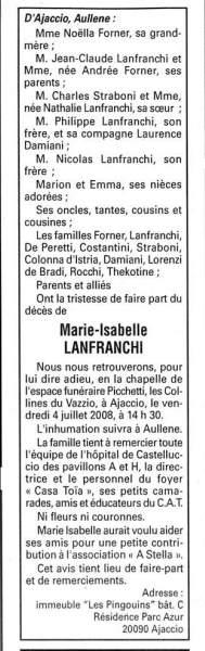 Décès Lanfranchi Marie Isabelle