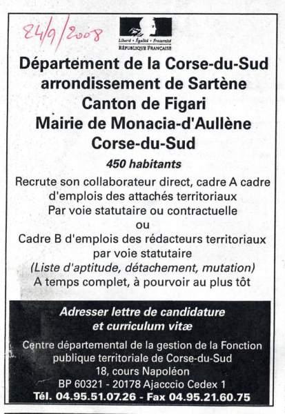 Recrutement Agent Mairie Monacia