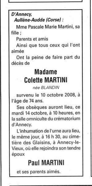 Décès Martini Blandin Colette