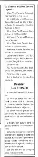 Décès Grimaud René