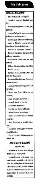 Décès Baudat Maurel
