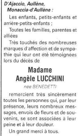 Remerciements. Décès Lucchini Angèle