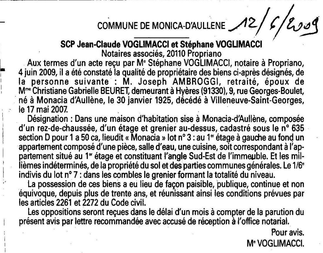 Aull ne et monacia d 39 aull ne villages de la corse du sud juin 2009 - Titre propriete maison ...