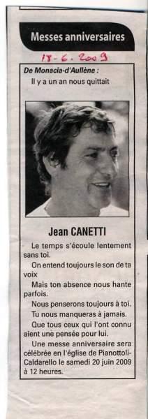 Messe Anniversaire Décès Canetti Jean