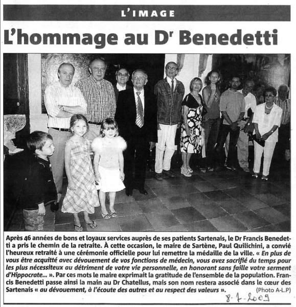 hommage de la mairie de Sartène au docteur Francis Benedetti