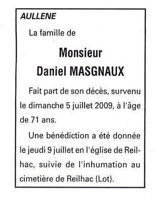 Décès Masgnaux Daniel