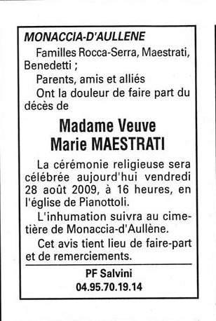 Décès Maestrati Marie