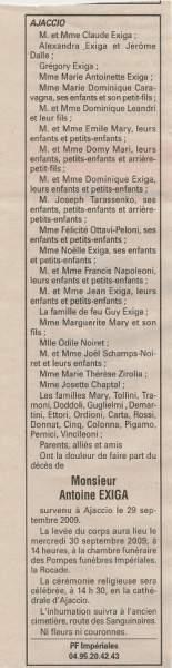 Décès Exiga Antoine
