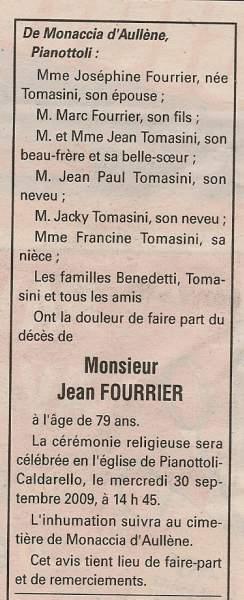Décès Fourrier Jean