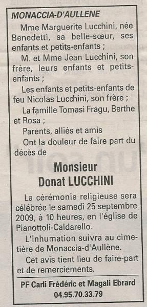 Décès Lucchini Donat
