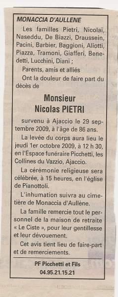 Décès Pietri Nicolas