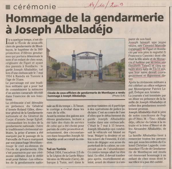 cérémonie de la gendarmerie en hommage à Joseph Albaladéjo