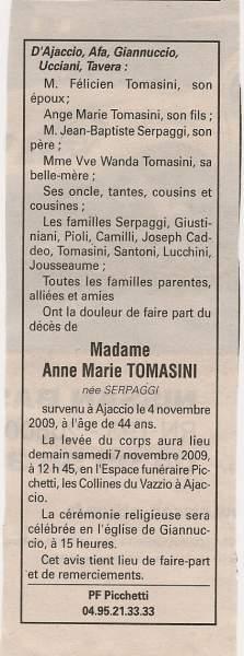 Décès Tomasini