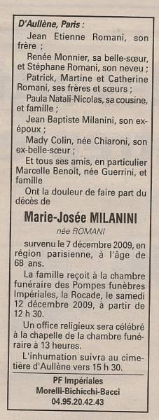 Décès Milanini