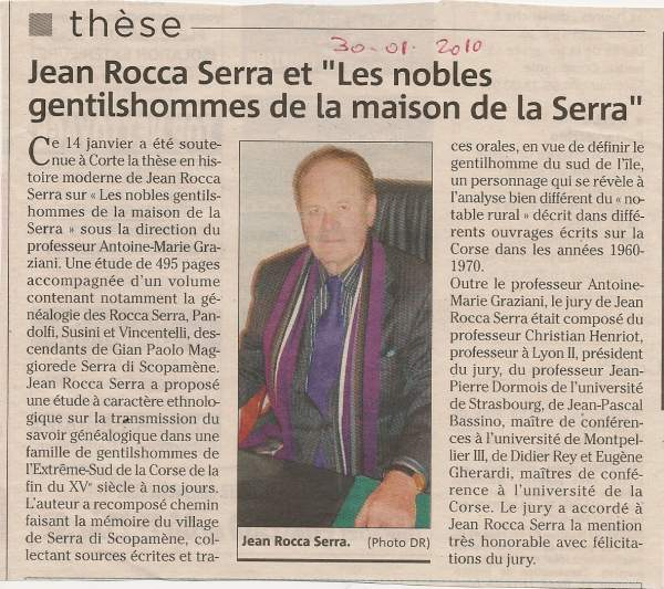 Thèse sur les nobles gentilhommes de la maison de la Serra