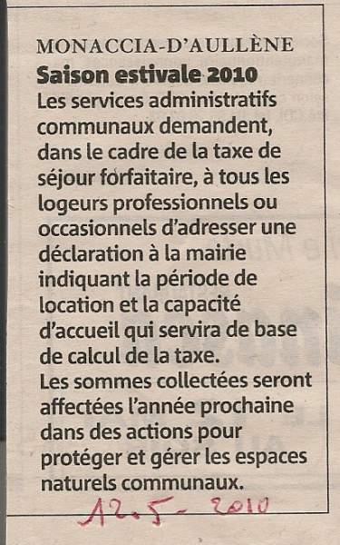 annonce de la mairie de Monacia d'Aullène pour le calcul de la taxe de séjour