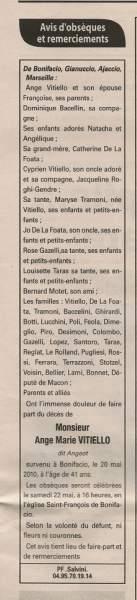 notice décès et remerciement pour Ange Marie Vitiello
