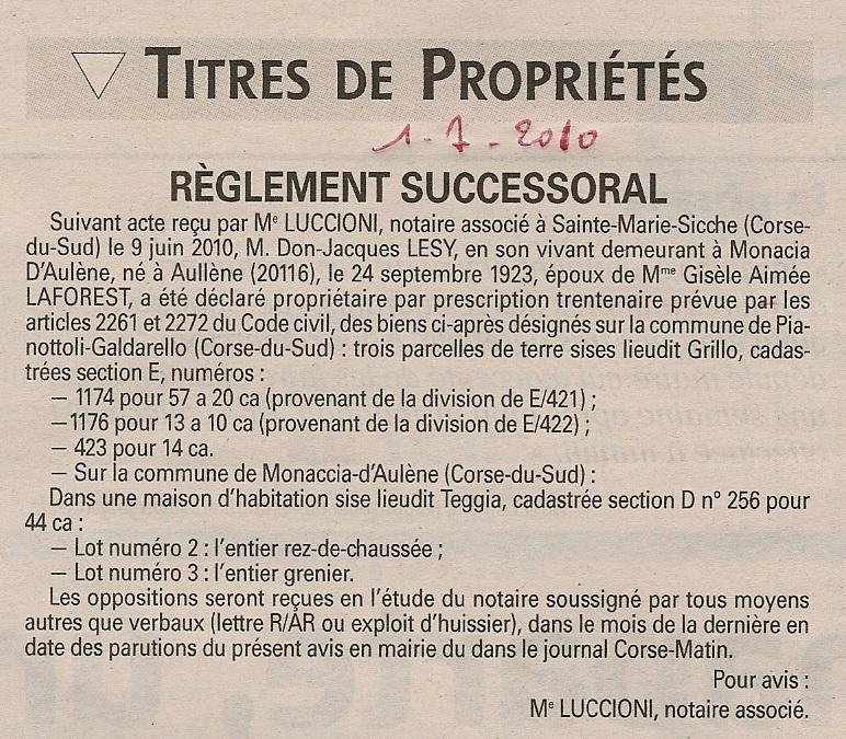 Aull ne et monacia d 39 aull ne villages de la corse du sud presse monac - Acte de propriete terrain ...