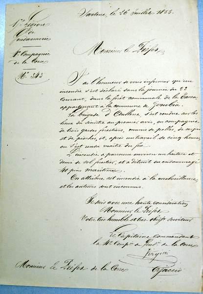 Feu en forêt de Tacca en 1855