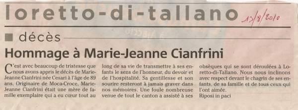 hommage à Marie Jeanne Cesari, épouse Cianfarani