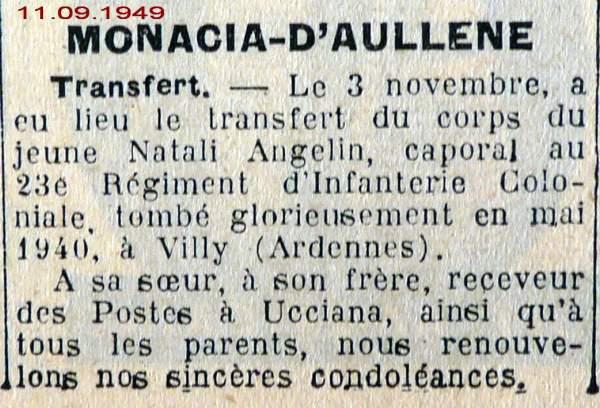 Décès NATALI Angelin 1940