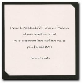 carte de vœux 2011 du conseil municipal d'Aullène (verso)