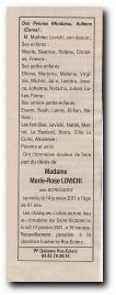 notice décès de Marie Rose Bordaries épouse Lovichi