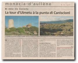 article sur la promenade de la plage de Monacia à la pointe de Caniscione en passant par la tour d'Olmeto