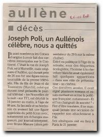 article de presse relatif au décès de Joseph Poli