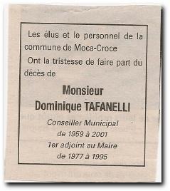 notice décès de Dominique François Tafanelli